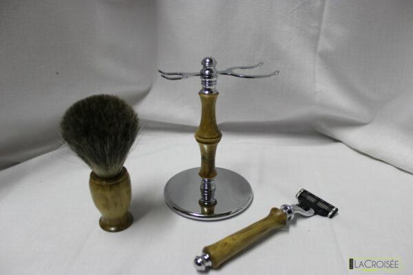 Set-à-raser-artisanal-buis-blaireau-et-rasoir-compatible-Gillette-Mach-3