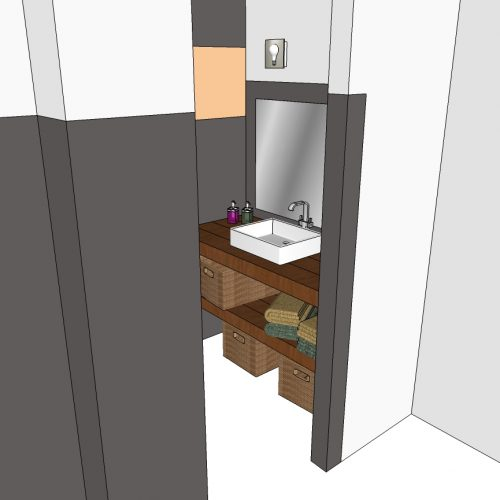 Meuble de salle de bain suspendu en chêne massif